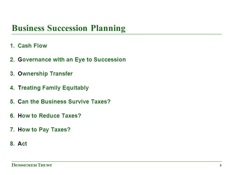 99 Business Succession Planning 1.Cash Flow 2.Governance with an Eye to Succession 3.Ownership Transfer 4.Treating Family Equitably 5.Can the Business Survive Taxes.