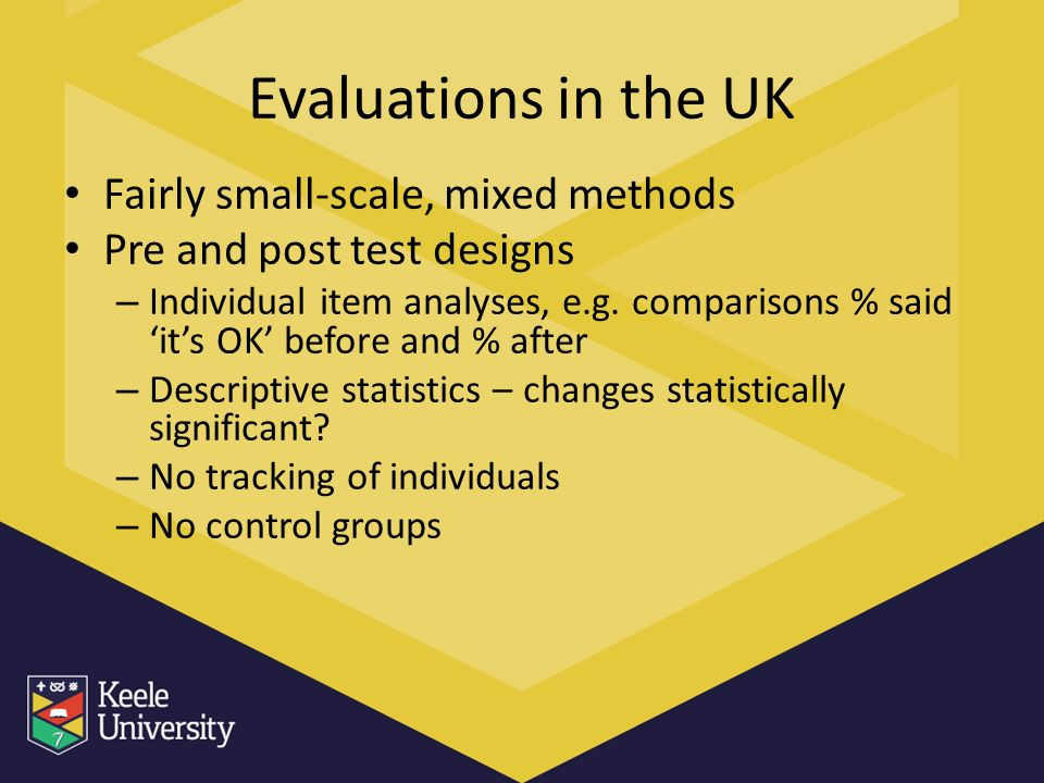 Evaluations in the UK Fairly small-scale, mixed methods Pre and post test designs – Individual item analyses, e.g.