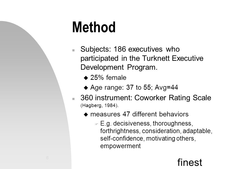 finest 6 Method n Subjects: 186 executives who participated in the Turknett Executive Development Program.