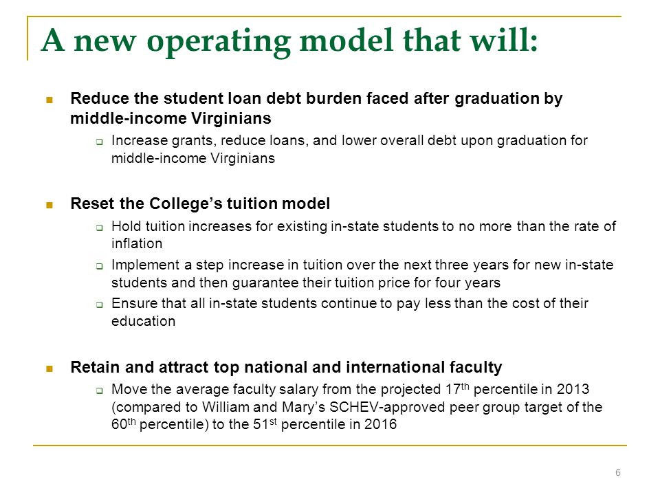 A new operating model that will: Reduce the student loan debt burden faced after graduation by middle-income Virginians Increase grants, reduce loans, and lower overall debt upon graduation for middle-income Virginians Reset the Colleges tuition model Hold tuition increases for existing in-state students to no more than the rate of inflation Implement a step increase in tuition over the next three years for new in-state students and then guarantee their tuition price for four years Ensure that all in-state students continue to pay less than the cost of their education Retain and attract top national and international faculty Move the average faculty salary from the projected 17 th percentile in 2013 (compared to William and Marys SCHEV-approved peer group target of the 60 th percentile) to the 51 st percentile in