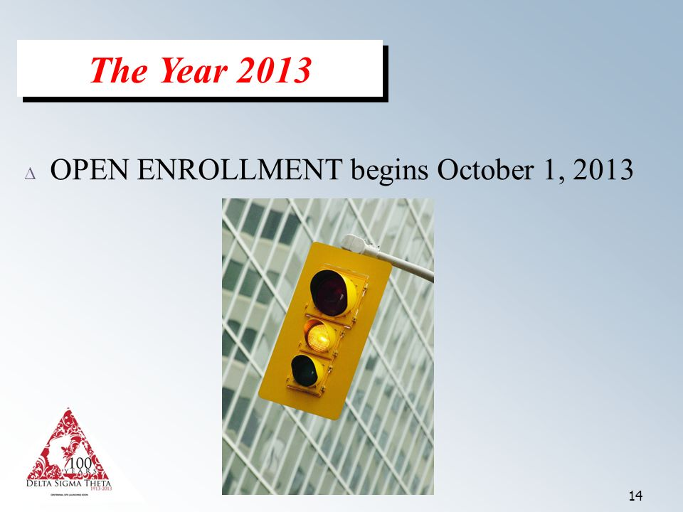 14 Δ OPEN ENROLLMENT begins October 1, 2013 The Year 2013