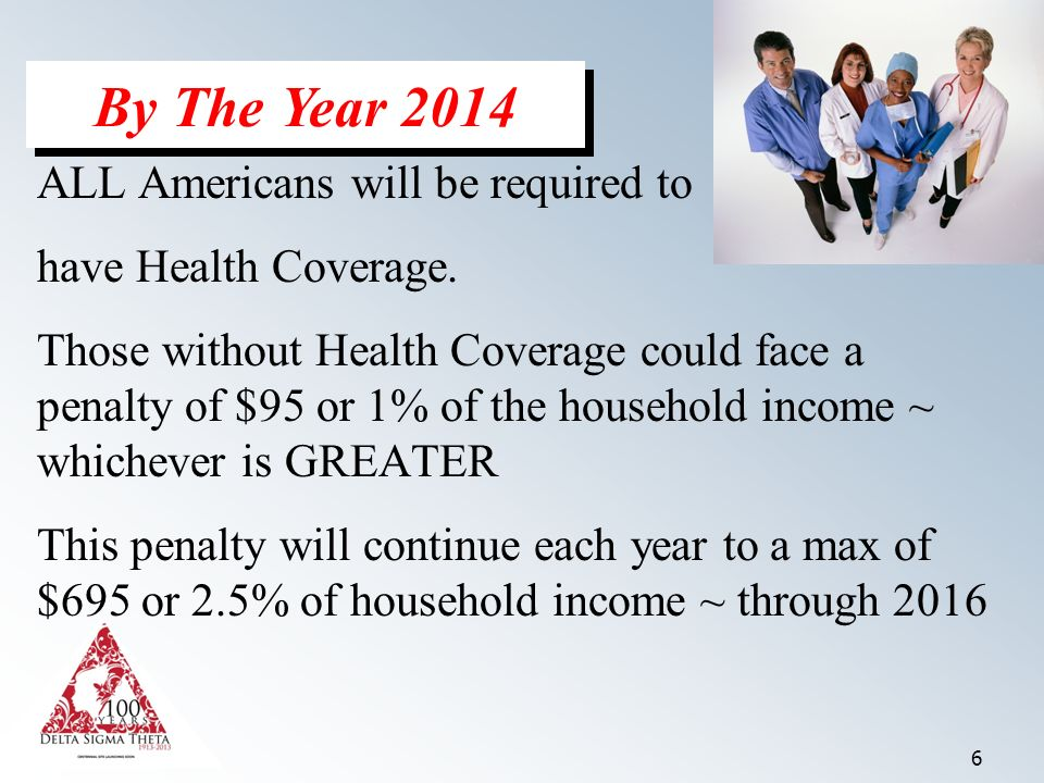 6 ALL Americans will be required to have Health Coverage.