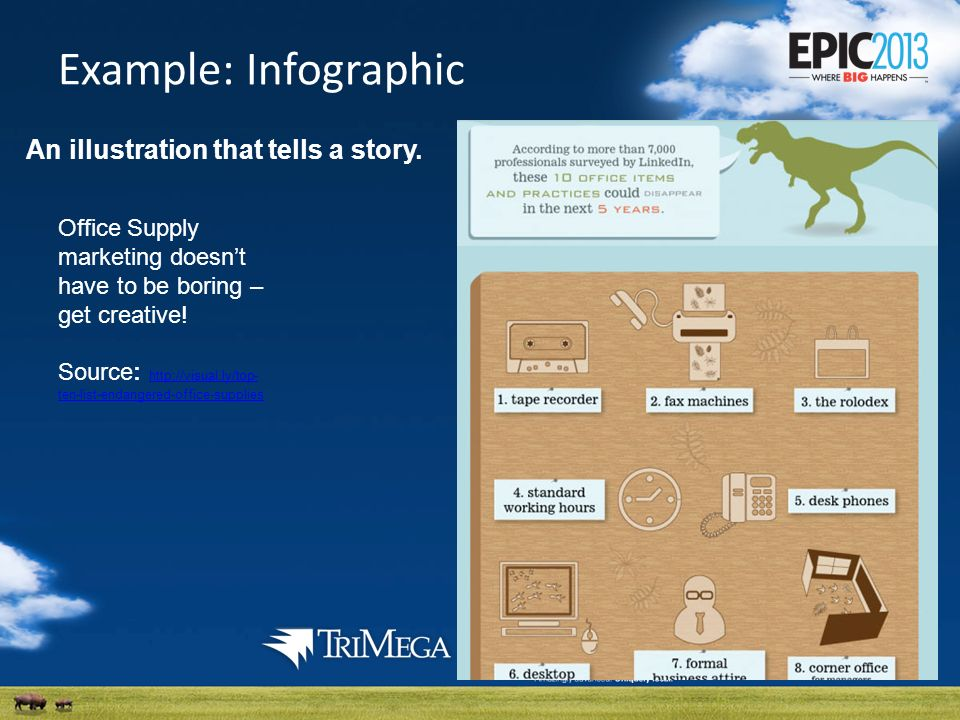 Example: Infographic An illustration that tells a story.