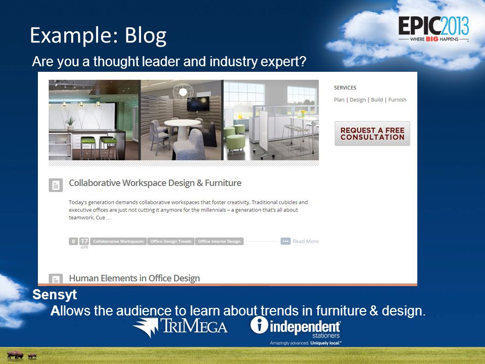 Example: Blog Are you a thought leader and industry expert.