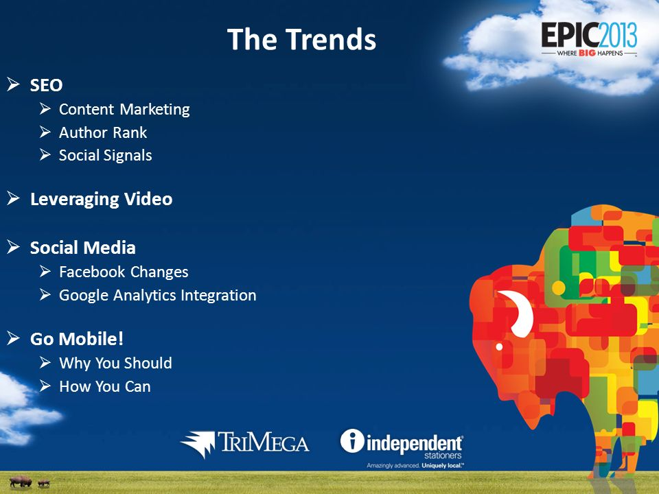 The Trends SEO Content Marketing Author Rank Social Signals Leveraging Video Social Media Facebook Changes Google Analytics Integration Go Mobile.