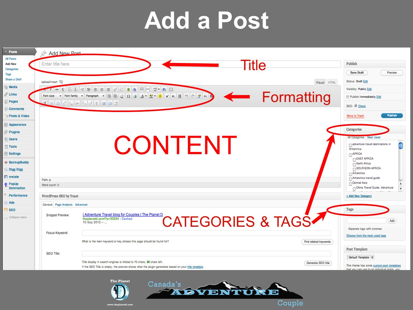 Add a Post Title Formatting CONTENT CATEGORIES & TAGS