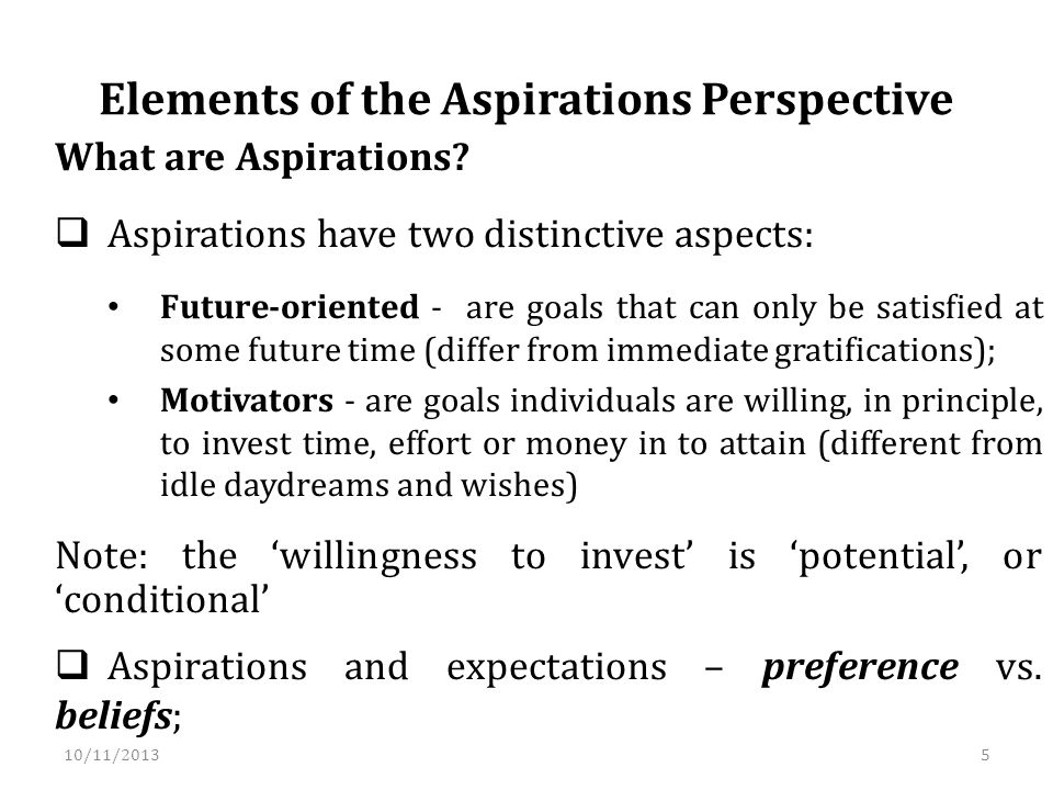 10/11/2013 What are Aspirations.