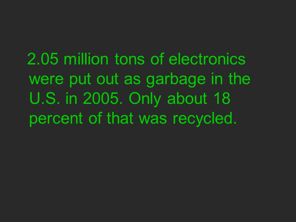 2.05 million tons of electronics were put out as garbage in the U.S.