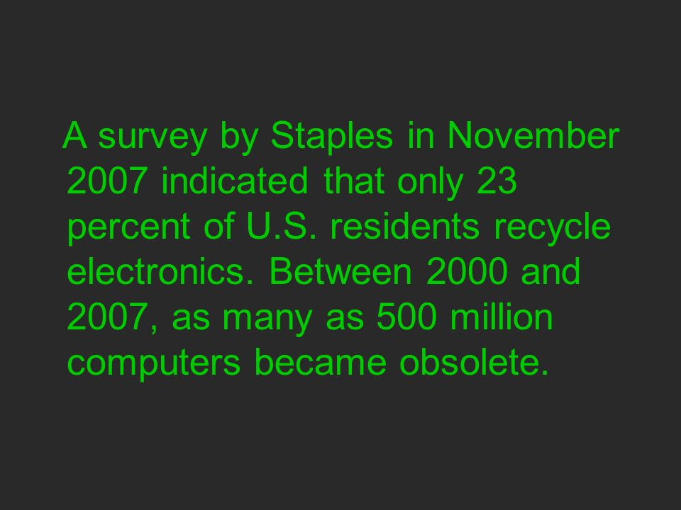 A survey by Staples in November 2007 indicated that only 23 percent of U.S.