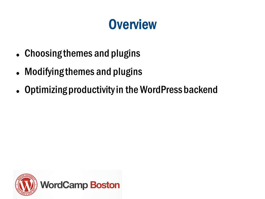 Overview Choosing themes and plugins Modifying themes and plugins Optimizing productivity in the WordPress backend