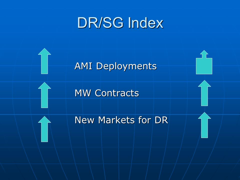 DR/SG Index AMI Deployments MW Contracts New Markets for DR