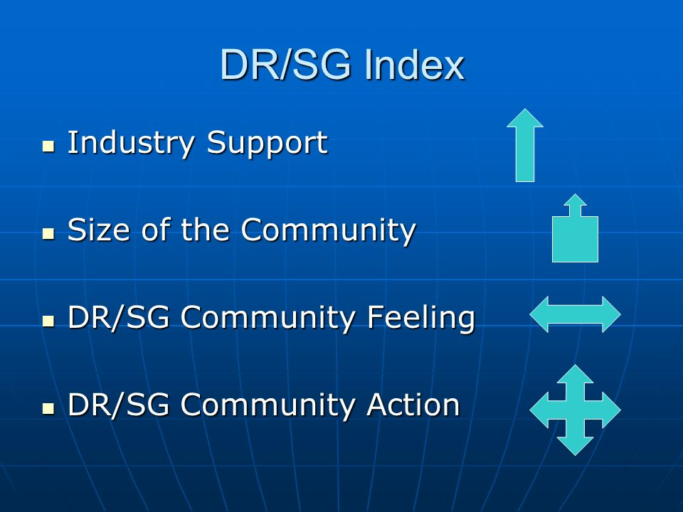 DR/SG Index Industry Support Industry Support Size of the Community Size of the Community DR/SG Community Feeling DR/SG Community Feeling DR/SG Community Action DR/SG Community Action