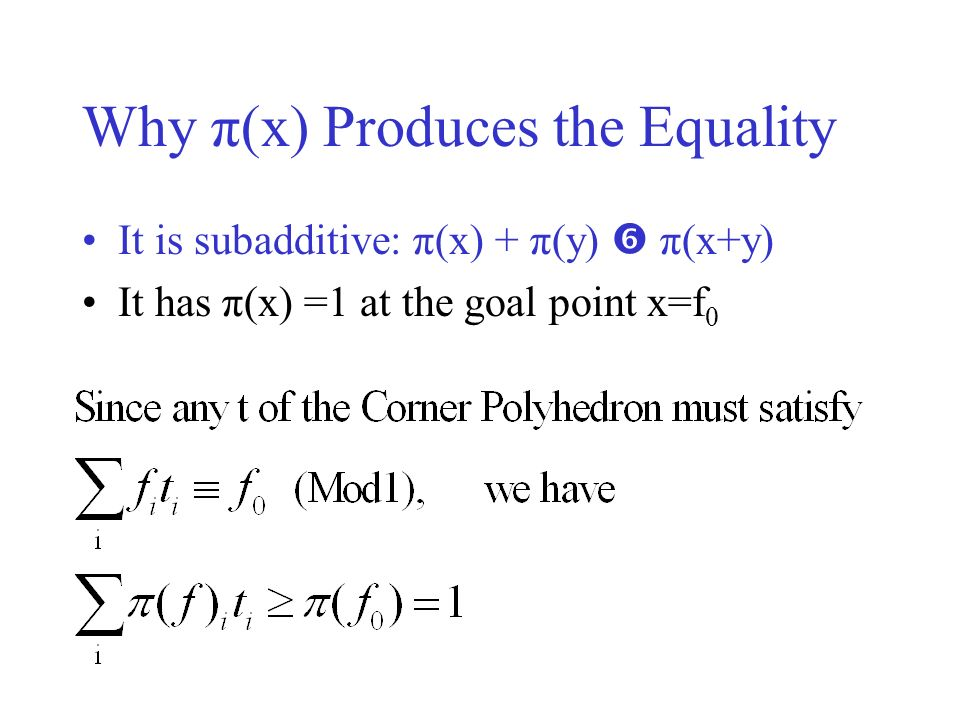 Why π(x) Produces the Equality It is subadditive: π(x) + π(y) π(x+y) It has π(x) =1 at the goal point x=f 0