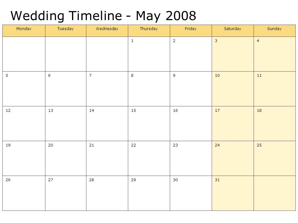 Wedding Timeline - May 2008 MondayTuesdayWednesdayThursdayFridaySaturdaySunday