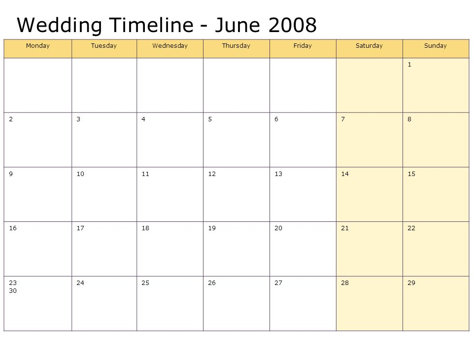 Wedding Timeline - June 2008 MondayTuesdayWednesdayThursdayFridaySaturdaySunday