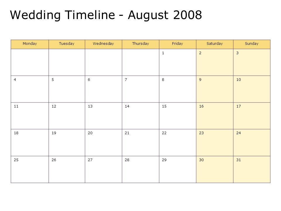 Wedding Timeline - August 2008 MondayTuesdayWednesdayThursdayFridaySaturdaySunday