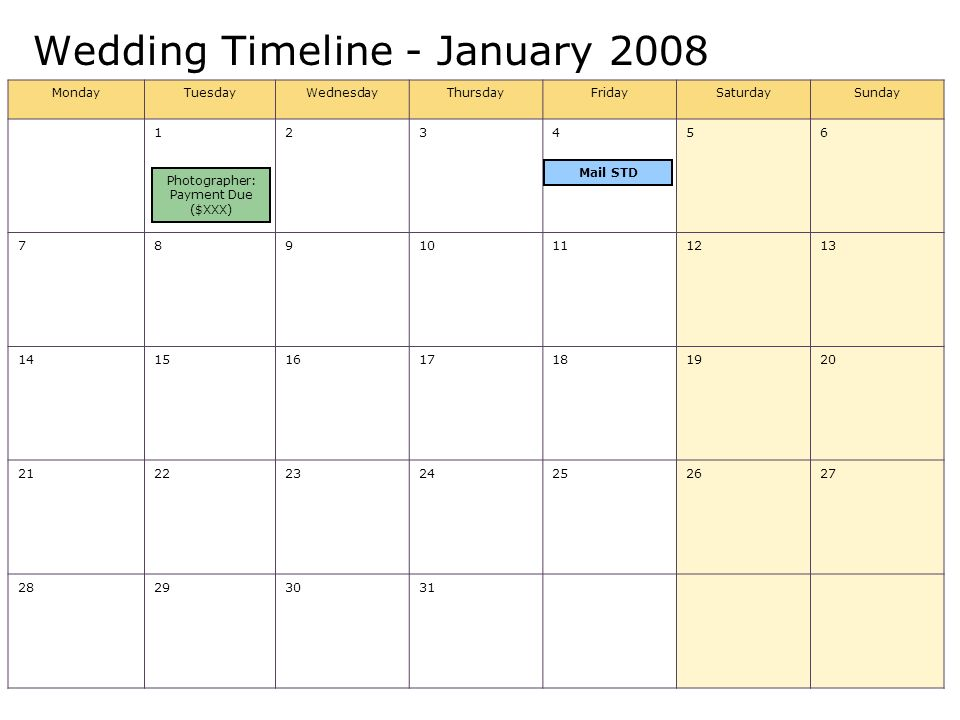 Wedding Timeline - January 2008 MondayTuesdayWednesdayThursdayFridaySaturdaySunday Photographer: Payment Due ($XXX) Mail STD