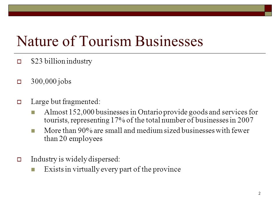 2 Nature of Tourism Businesses $23 billion industry 300,000 jobs Large but fragmented: Almost 152,000 businesses in Ontario provide goods and services for tourists, representing 17% of the total number of businesses in 2007 More than 90% are small and medium sized businesses with fewer than 20 employees Industry is widely dispersed: Exists in virtually every part of the province