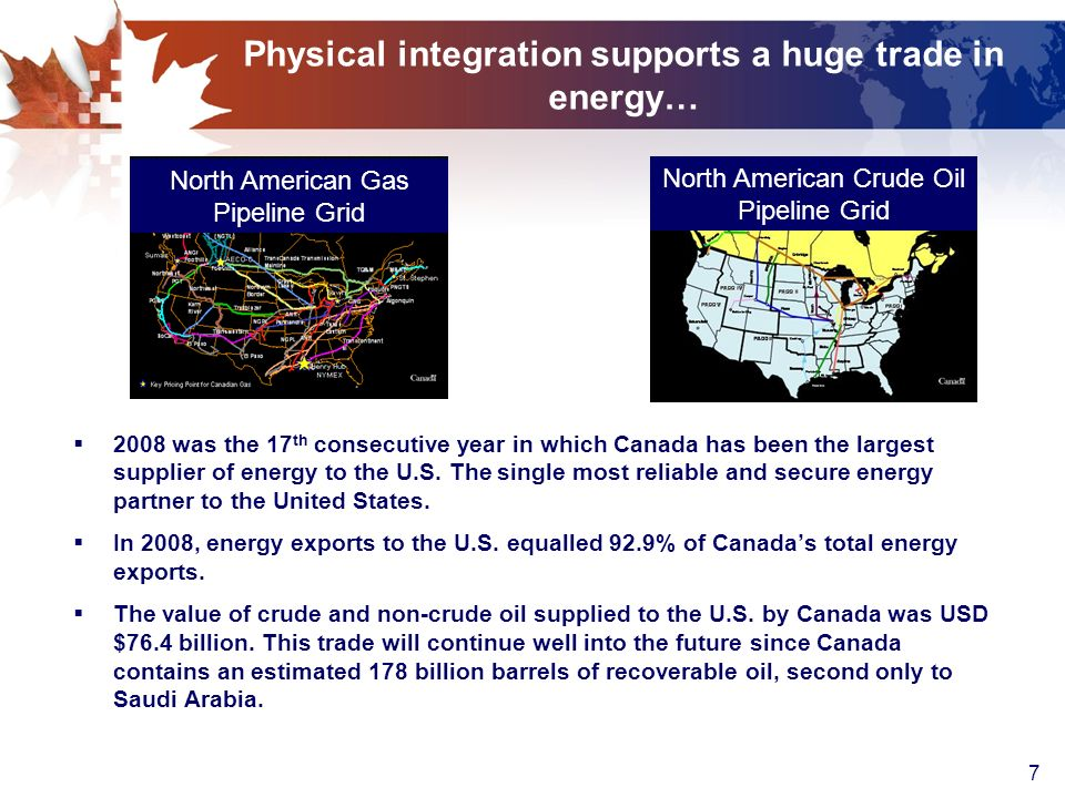 7 Physical integration supports a huge trade in energy… 2008 was the 17 th consecutive year in which Canada has been the largest supplier of energy to the U.S.