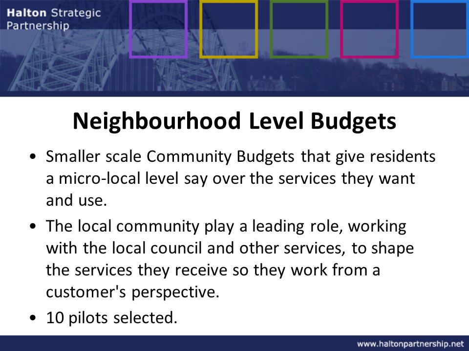 Neighbourhood Level Budgets Smaller scale Community Budgets that give residents a micro-local level say over the services they want and use.
