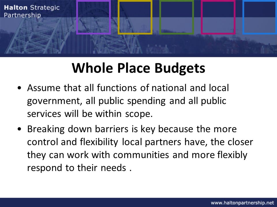 Whole Place Budgets Assume that all functions of national and local government, all public spending and all public services will be within scope.