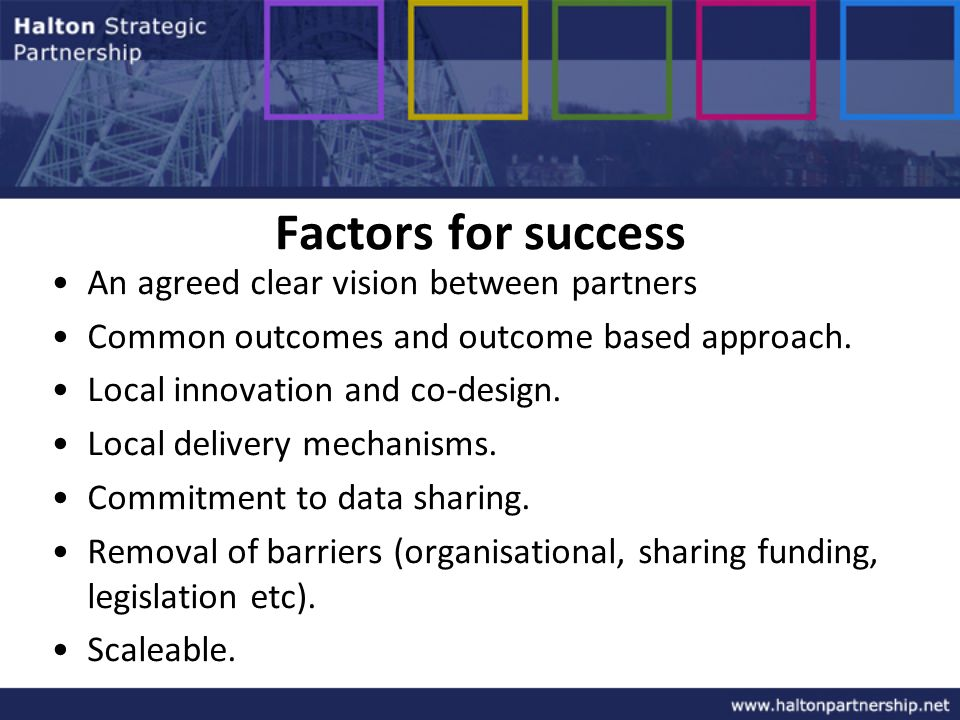 Factors for success An agreed clear vision between partners Common outcomes and outcome based approach.