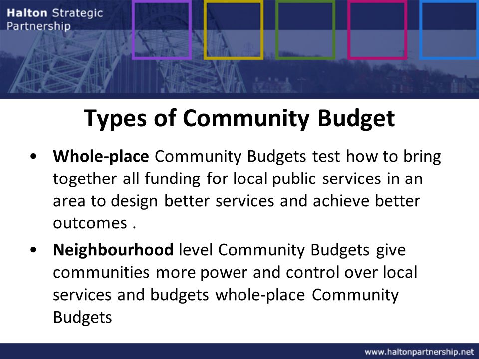 Types of Community Budget Whole-place Community Budgets test how to bring together all funding for local public services in an area to design better services and achieve better outcomes.