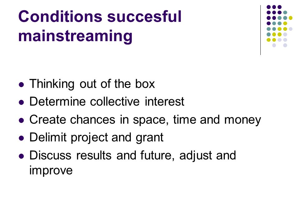 Conditions succesful mainstreaming Thinking out of the box Determine collective interest Create chances in space, time and money Delimit project and grant Discuss results and future, adjust and improve