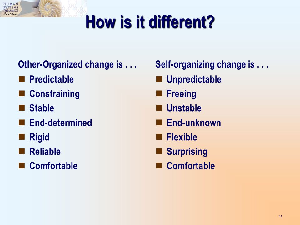 How is it different. Other-Organized change is...
