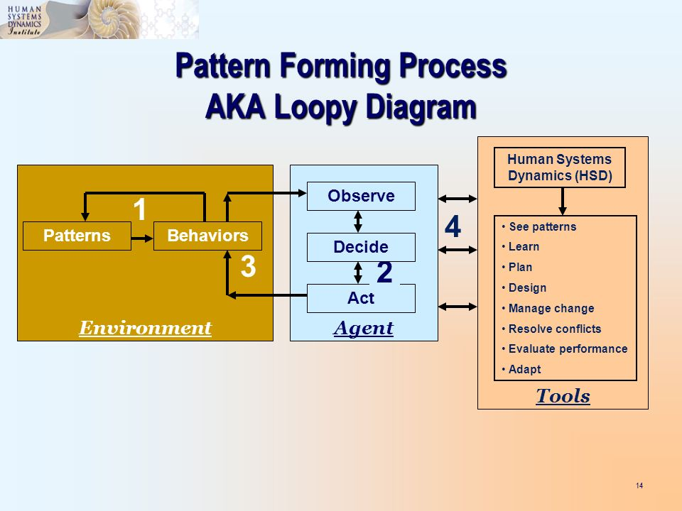 14 PatternsBehaviors Environment 1 Pattern Forming Process AKA Loopy Diagram Act Agent Observe 2 Decide 3 Tools See patterns Learn Plan Design Manage change Resolve conflicts Evaluate performance Adapt Human Systems Dynamics (HSD) 4