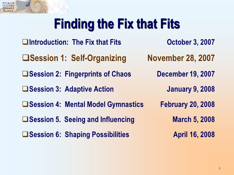 Finding the Fix that Fits Introduction: The Fix that FitsOctober 3, 2007 Session 1: Self-OrganizingNovember 28, 2007 Session 2: Fingerprints of ChaosDecember 19, 2007 Session 3: Adaptive ActionJanuary 9, 2008 Session 4: Mental Model GymnasticsFebruary 20, 2008 Session 5.