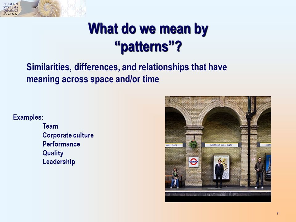 What do we mean by patterns.