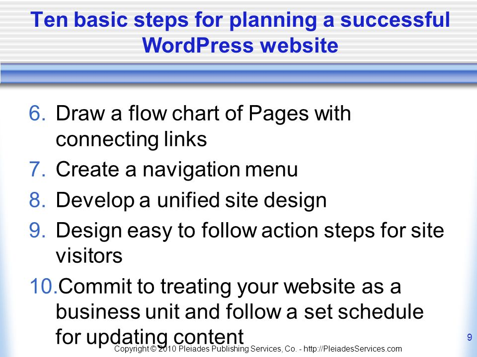 Ten basic steps for planning a successful WordPress website 6.Draw a flow chart of Pages with connecting links 7.Create a navigation menu 8.Develop a unified site design 9.Design easy to follow action steps for site visitors 10.Commit to treating your website as a business unit and follow a set schedule for updating content Copyright © 2010 Pleiades Publishing Services, Co.