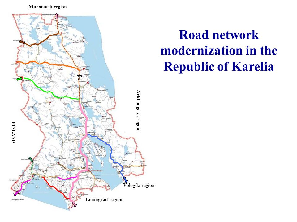 Vologda region Leningrad region Murmansk region Road network modernization in the Republic of Karelia М- 18 FINLAND Arkhangelsk region