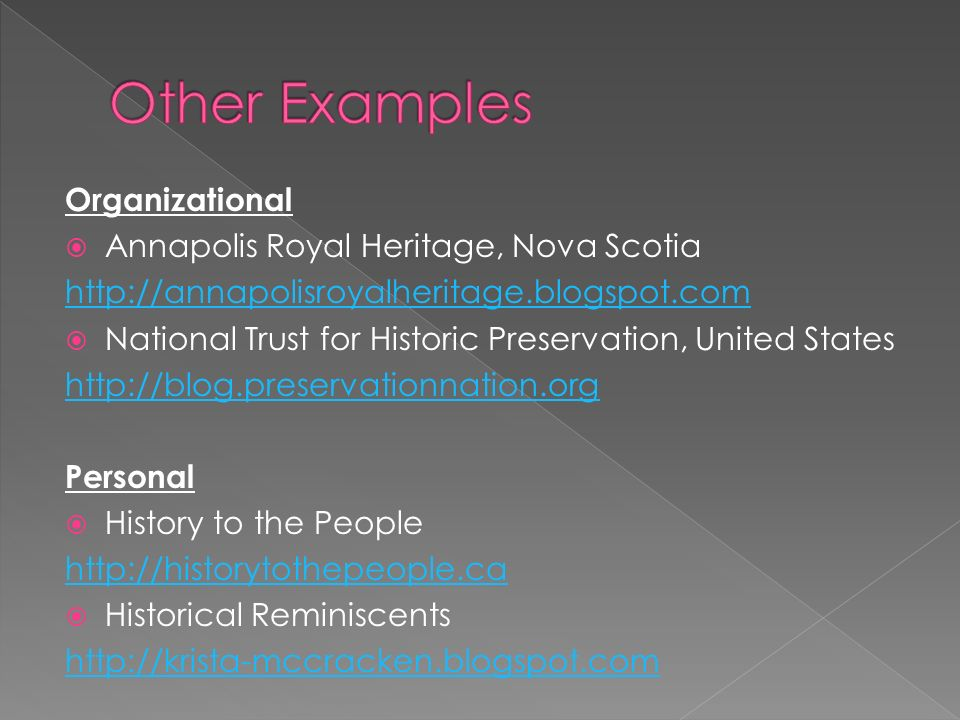 Organizational Annapolis Royal Heritage, Nova Scotia   National Trust for Historic Preservation, United States   Personal History to the People   Historical Reminiscents