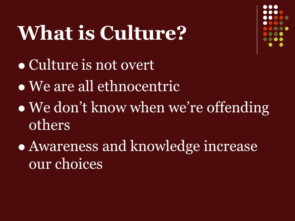 Culture is not overt We are all ethnocentric We dont know when were offending others Awareness and knowledge increase our choices What is Culture