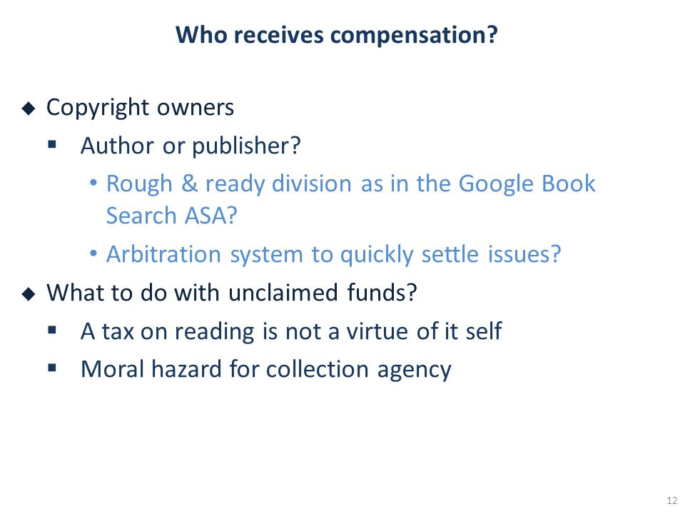 Who receives compensation. Copyright owners Author or publisher.