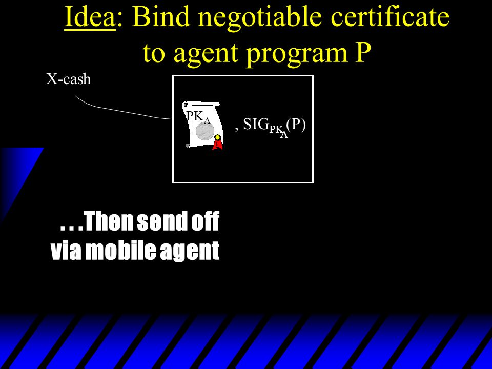 Idea: Bind negotiable certificate to agent program P, SIG PK (P) A PK A X-cash...Then send off via mobile agent