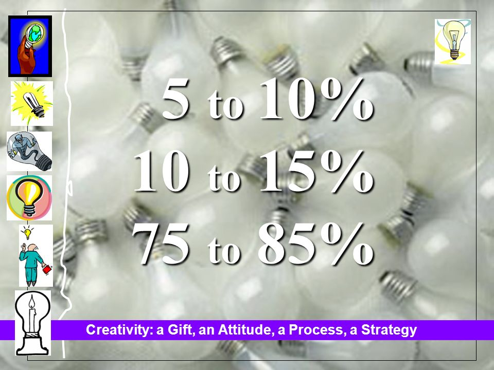 Creativity: a Gift, an Attitude, a Process, a Strategy 5 to 10% 5 to 10% 10 to 15% 75 to 85%