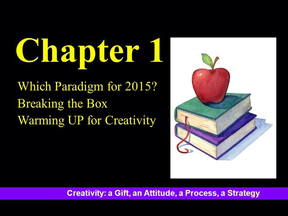 Creativity: a Gift, an Attitude, a Process, a Strategy Chapter 1 Which Paradigm for 2015.