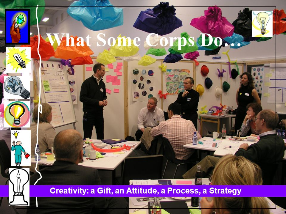 Creativity: a Gift, an Attitude, a Process, a Strategy What Some Corps Do…