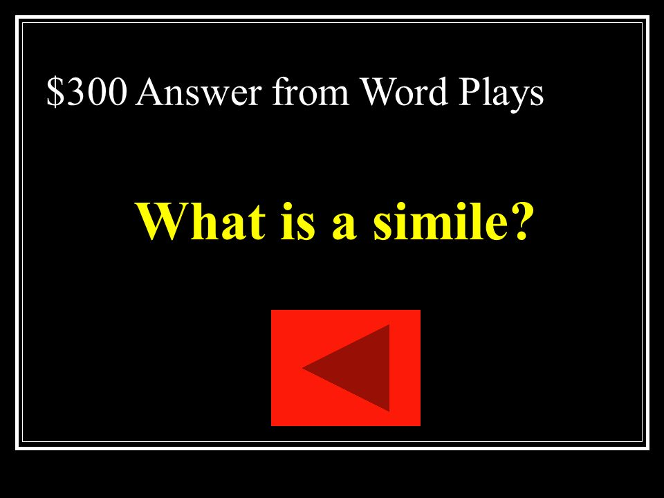 $300 Question from Word Plays A figure of speech that makes a comparison between two unlike things, using a word such as like, as, resembles, or than.
