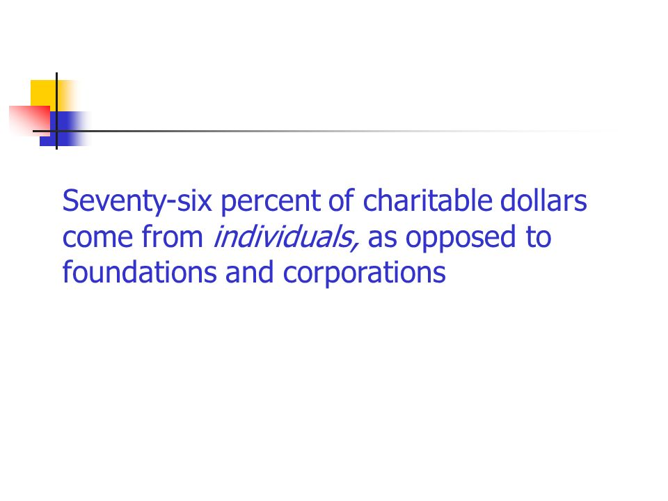 Seventy-six percent of charitable dollars come from individuals, as opposed to foundations and corporations