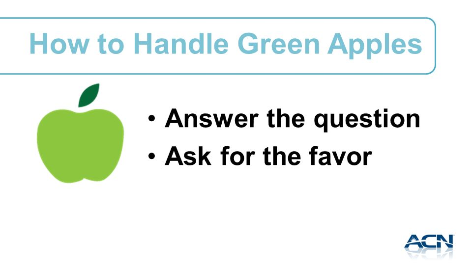 How to Handle Green Apples Answer the question Ask for the favor