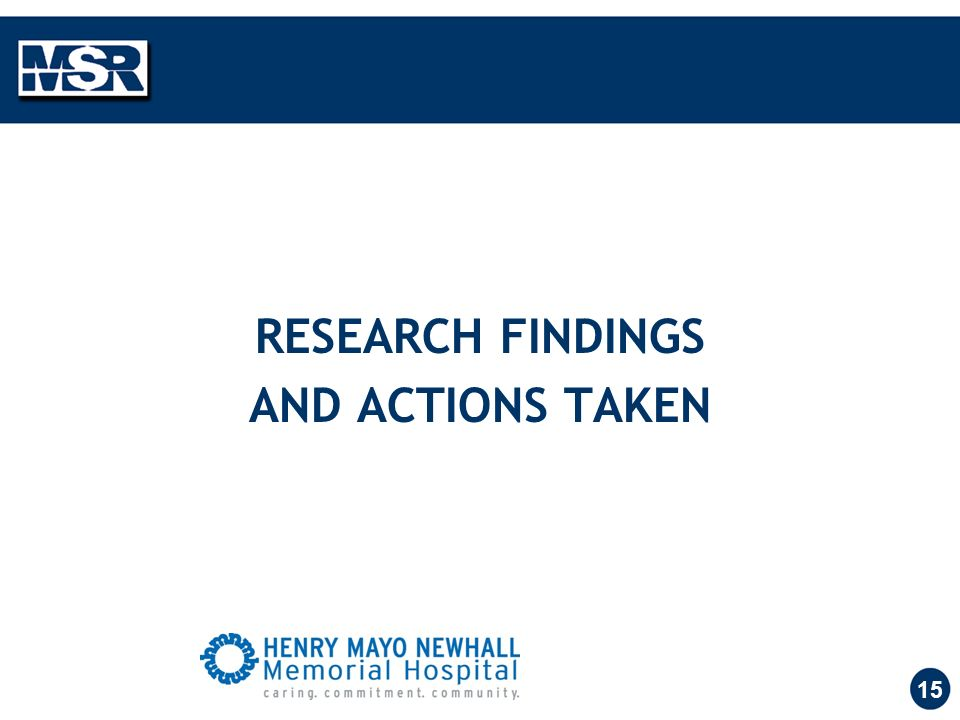 15 RESEARCH FINDINGS AND ACTIONS TAKEN