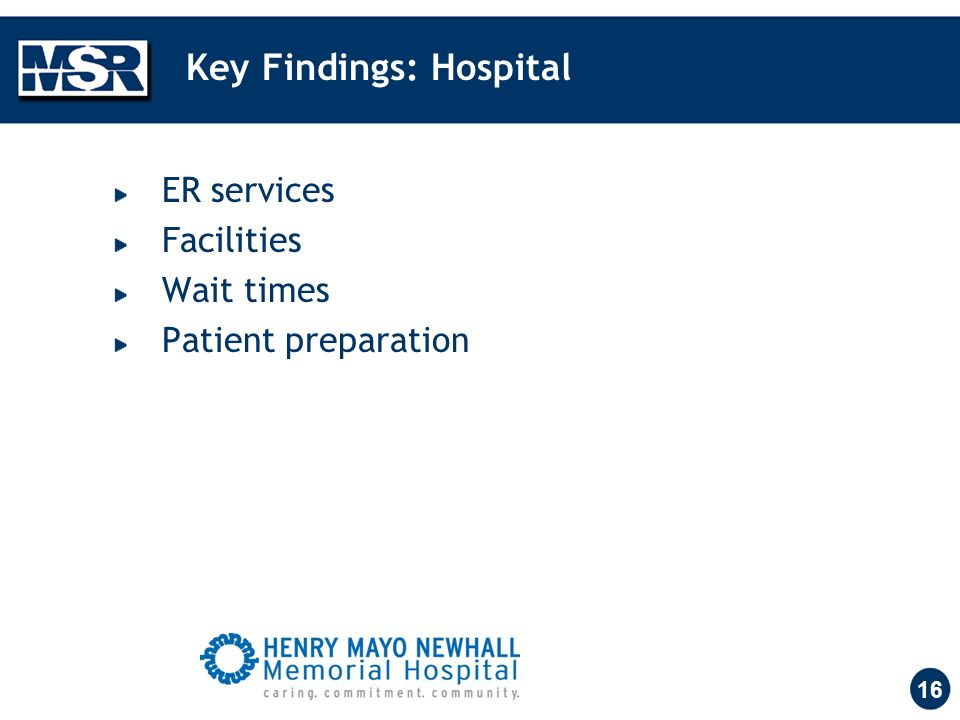 16 Key Findings: Hospital ER services Facilities Wait times Patient preparation
