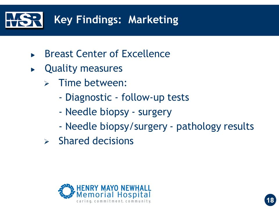 18 Key Findings: Marketing Breast Center of Excellence Quality measures Time between: - Diagnostic - follow-up tests - Needle biopsy - surgery - Needle biopsy/surgery - pathology results Shared decisions
