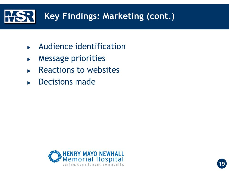 19 Key Findings: Marketing (cont.) Audience identification Message priorities Reactions to websites Decisions made