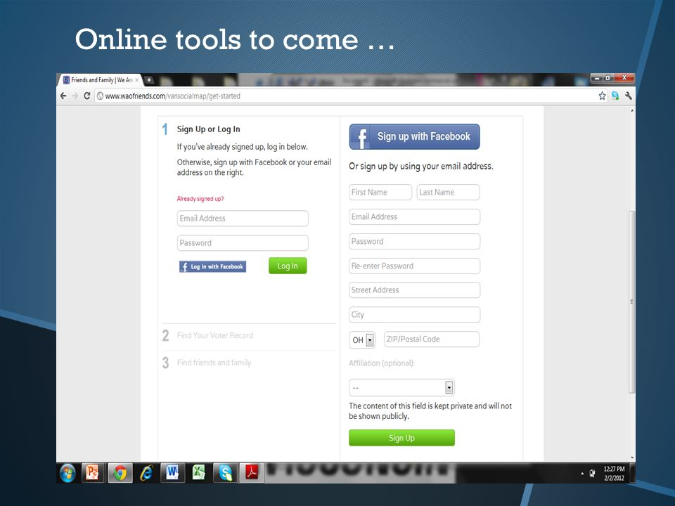 Online tools to come …