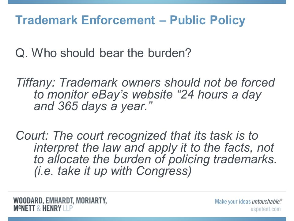 Trademark Enforcement – Public Policy Q. Who should bear the burden.